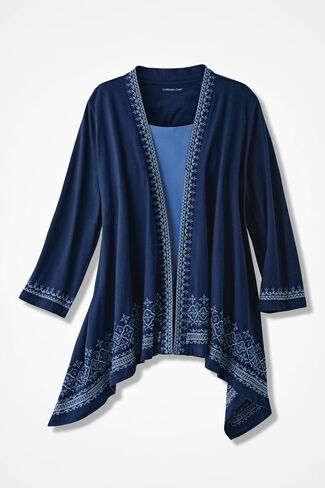 Beyond Borders Embroidered Cardigan, Navy, large