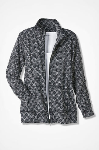 Relax & Rewind Batik Print Jacket, Black, large