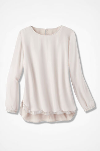 Chiffon-Over-Satin Tunic, Blush, large