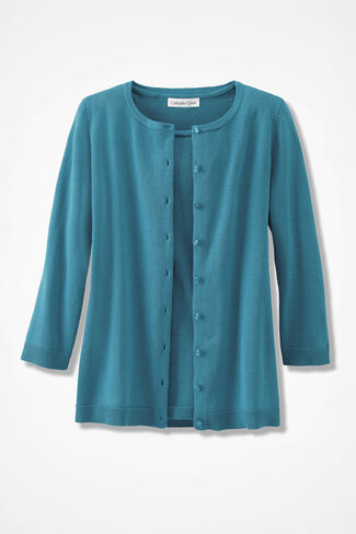 NEW Classic Cardigan, Cerulean, large