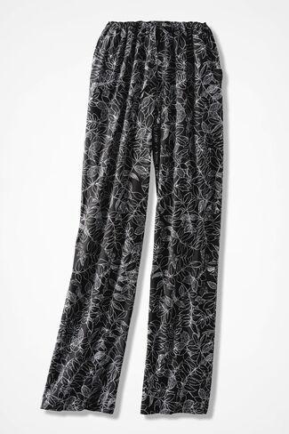 Twining Vines Print Pants, Black, large