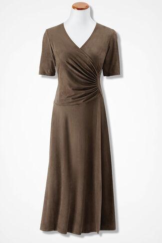 Side-Swept Faux Suede Dress, Dark Portabella, large
