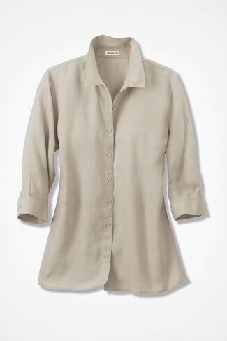 Linen Big Shirt, Flax, large