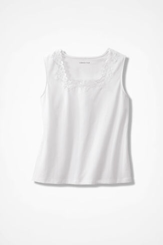 Lacy Square Neck Tank, White, large