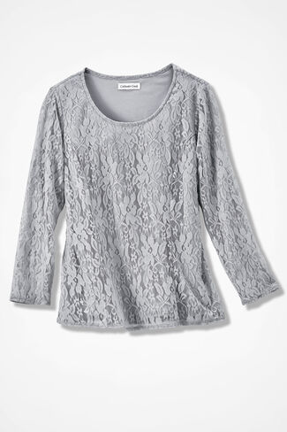 Stretchy Lace Tee, Shell Grey, large