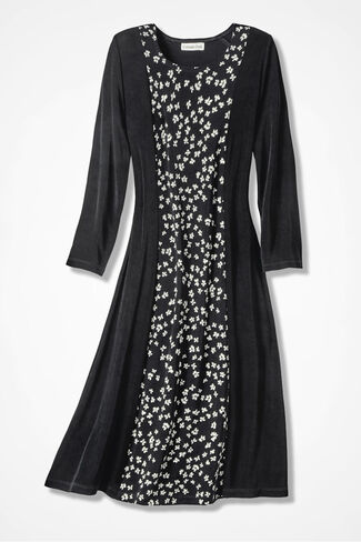 Destinations Floral Inset Dress, Black, large