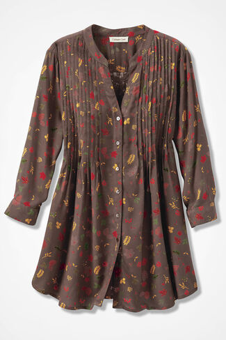 Drifting Leaves Tunic, Cocoa Brown, large