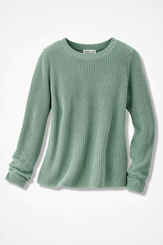 Boxy Shaker Pullover, Agave Green, large