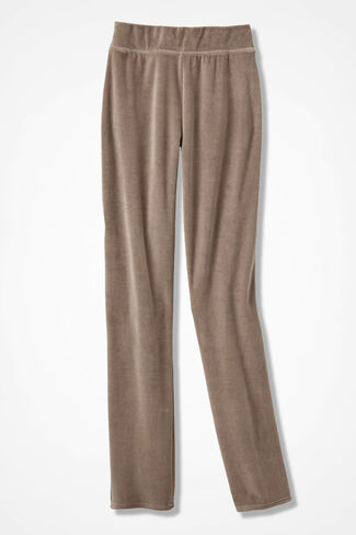 Velour du Jour Slim-Leg Pants, Toast, large