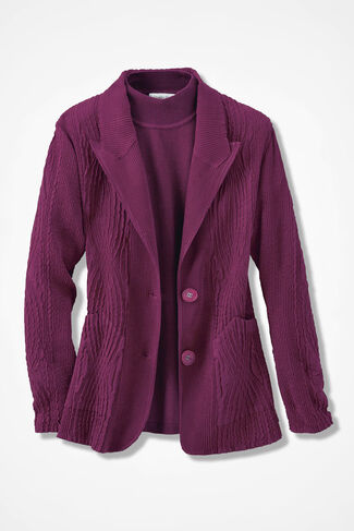 Twin Textures Sueded Jacket, Mulberry, large