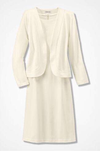 Ponte Bolero Jacket Dress, Cream, large