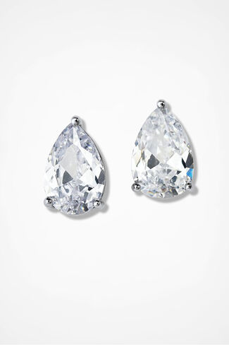 Dramatic Dazzle Teardrop Earri, Clear, large