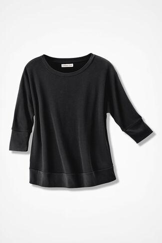 Waffle Knit Dolman Pullover, Black, large