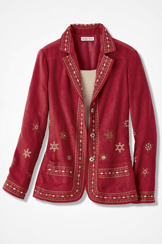 Canyon Road Embroidered Jacket, Bright Rust, large