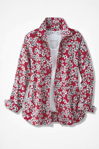 Vintage Floral Print Easy Care Shirt, Fresh Red, large