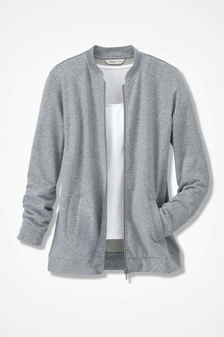 French Terry Weekend Jacket, Light Heather Grey, large