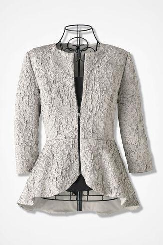 Modern Platinum Peplum Jacket by Alex Evenings, Platinum, large