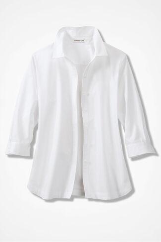 Three-Quarter Sleeve Easy Care Shirt, White, large