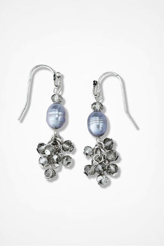 Glissando Pearl and Crystal Earrings, Grey, large