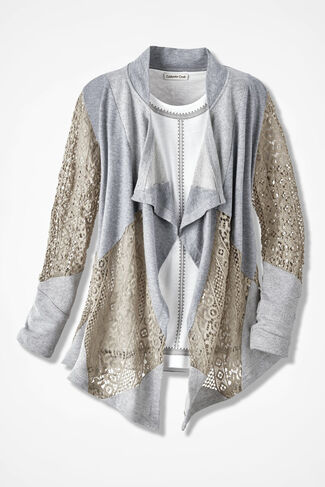 Texture Fusion Cardigan, Mid Heather Grey, large