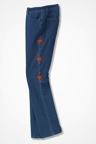 Embroidered Knit Denim Jeans, Medium Wash, large