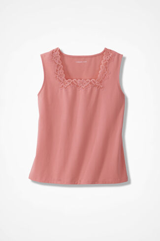 Lacy Square Neck Tank, Coral Nectar, large