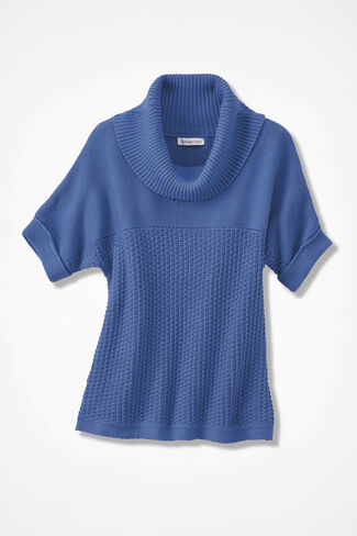Mixed-Stitch Dolman Sweater, Medium Blue, large