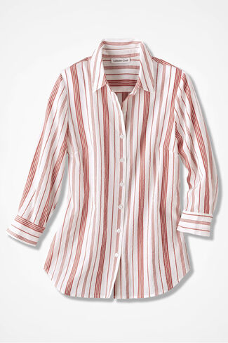 Simply Stripes Textured Shirt, Ivory, large