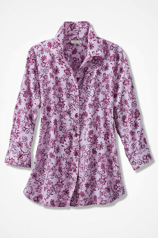 Floral Swirls Three-Quarter Sleeve Easy Care Shirt, Azalea, large