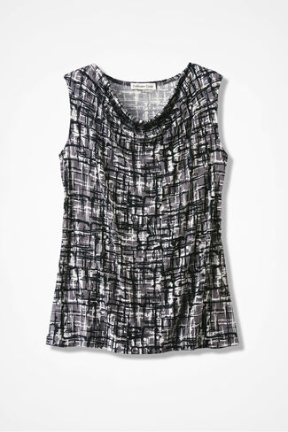 Destinations Etched-Print Drape-Neck Shell, Black, large