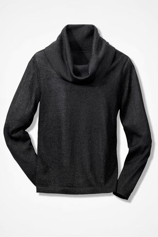 Shimmer Cowl Neck Sweater, Black, large