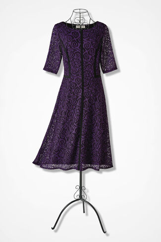 Lace Delight Knit Dress, Plum, large