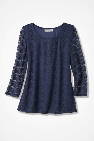 Lavish Lace Top, Navy, large