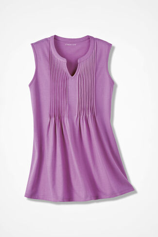 Pintuck Sleeveless Knit Tunic, Pink Lilac, large