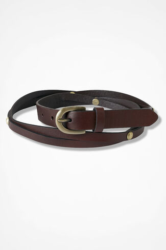 Studded Skinny Belt, Brown, large