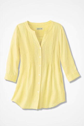 Tucked Linen Tunic, Daffodil, large