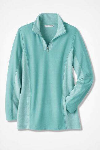 Two-Tone French Terry ¼ Zip-Neck Pullover, Aquamarine, large