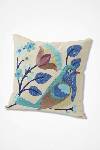 Bird & Blooms Floral Bird Pillow, Beige, large