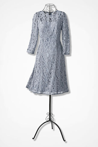 Moonlit Lace Dress by Adrianna Papell, Silver, large
