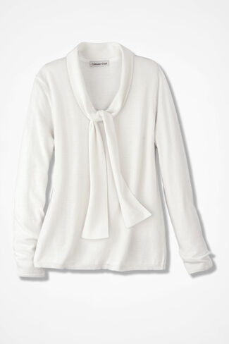 Soft Tie-It Sweater, Ivory, large
