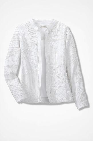 San Miguel Soutache Jacket, White, large