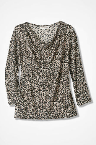 Destinations Geo-Print Drape-Neck Top, Dune, large