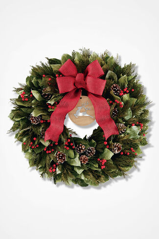 Rudolph's Run Cedar Wreath, Green, large