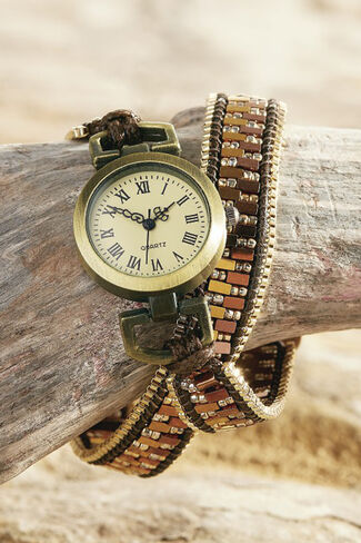 Earthscape Beaded Wrap Watch, Gold, large