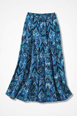 Crinkle Cotton Ikat Print Maxi Skirt, Cobalt, large
