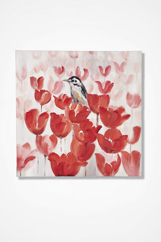 Bird Among the Tulips Print, Red, large
