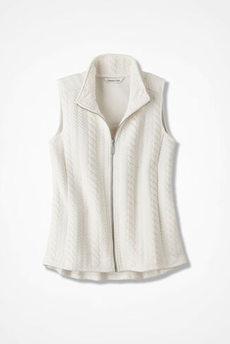 Curved-Hem Cabled Vest, Ivory, large