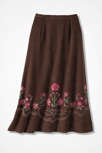 Fanciful Folk Art Skirt, Brown, large