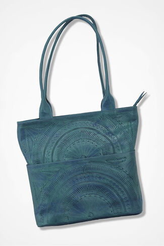 Etched Leather Tote, Peacock, large