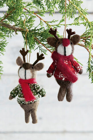 Reindeer Ornaments, Brown, large